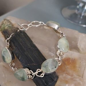 Sterling Silver Prehnite Bracelet